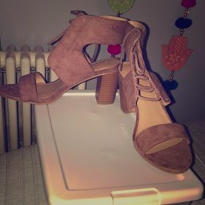 Mauve Pink laced up heels